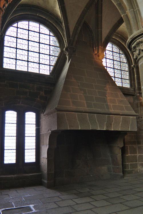 Photo of massive stone fireplace
