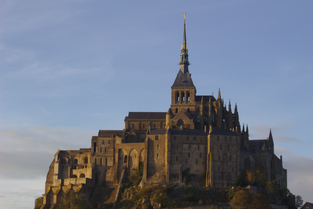 Image of Mont Saint Michel, a gothic abbey built on an island.