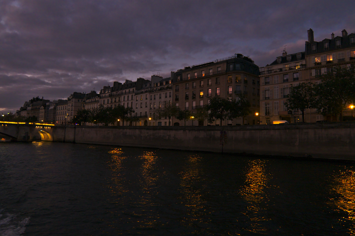 Paris from the river at night