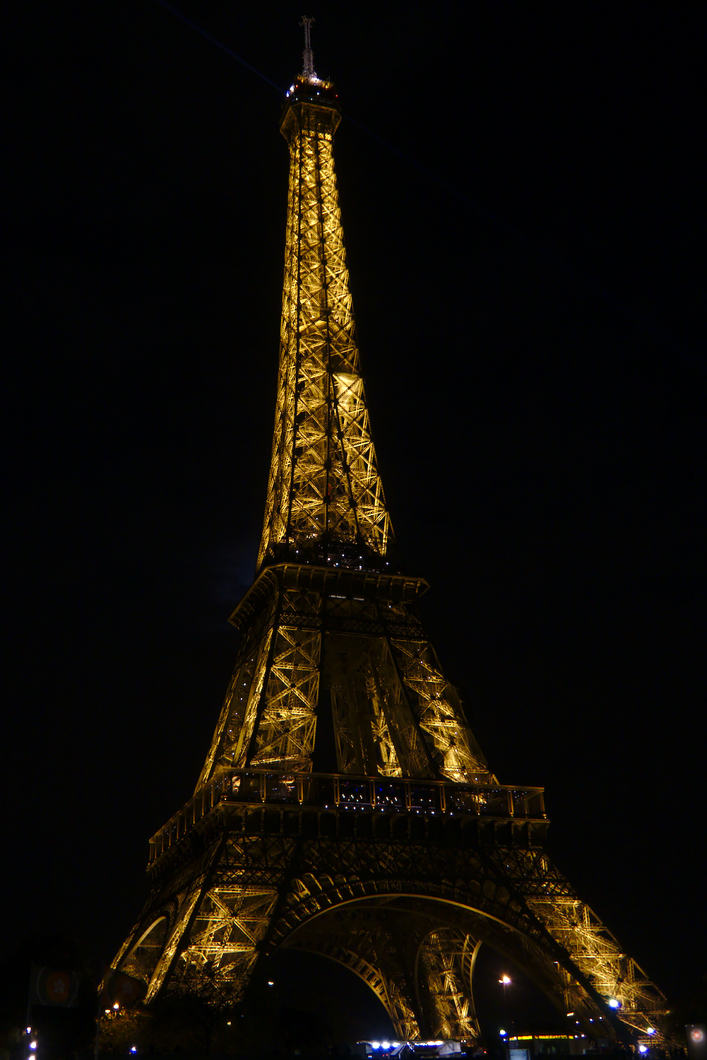 Eiffel Tower from the river at night - Closer